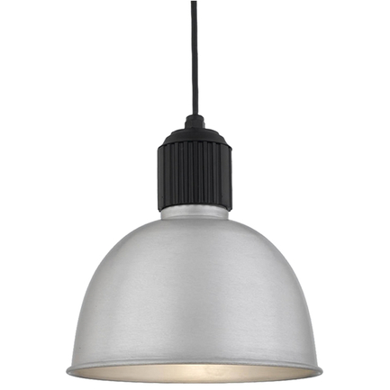 """12"""" shade in 101 Brushed Aluminum finish and casting in 91 Black finish with CB8 mounting"""
