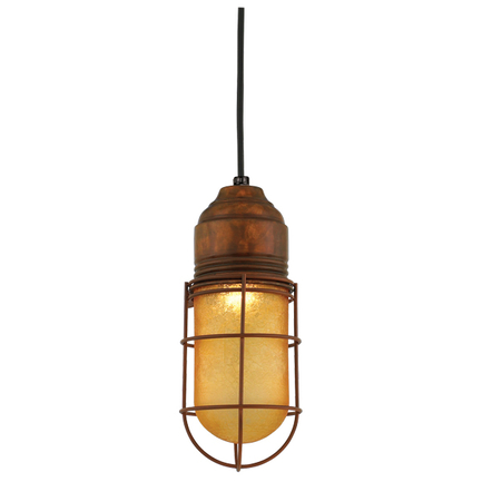 Large fixture in 77 rosewood finish with amber crackle glass, 8 ft. black cord with 91 black canopy