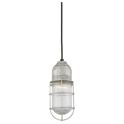 Large fixture with clear ribbed glass in galvanized, 8 ft. black cord with 91 black canopy