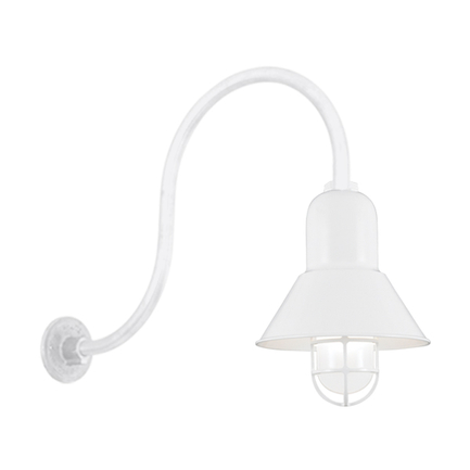 """10"""" shade with HL-D arm and CGU accessory with frost glass in 93 white finish"""