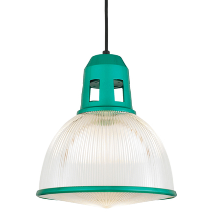 """12"""" shade with ribbed lens in 122 trans green, CB8 mounting with 91 black canopy, CLLS accessory"""