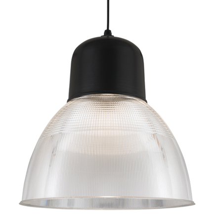 """22"""" shade with ribbed lens in 91 black finish, 8 foot black cord with 91 black canopy"""