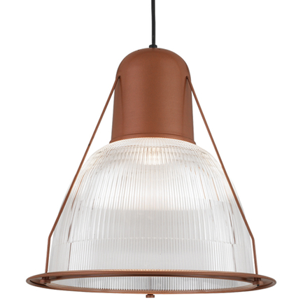 """19"""" shade with ribbed lens in 113 metallic copper finish, 8 foot black cord with 91 black canopy"""