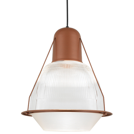 """19"""" shade with ribbed lens in 113 metallic copper finish, 8 foot black cord with 91 black canopy, DP"""