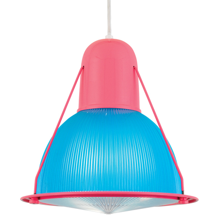"""14"""" shade, dark blue lens in custom pink, 8 foot white cord with 93 white canopy, CLLS accessory"""