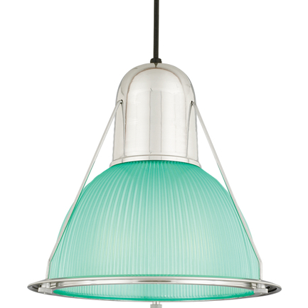 """14"""" shade with light green lens in 98 polished aluminum, 8 foot black cord with 91 black canopy"""
