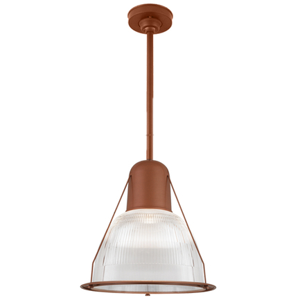 """19"""" shade with ribbed lens, 18"""" ST3 and HSC in 113 metallic copper finish"""