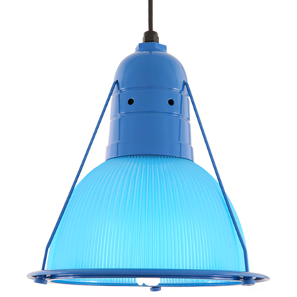 """14"""" shade with light blue lens in 103 blue finish, 8 foot black cord with 91 black canopy"""