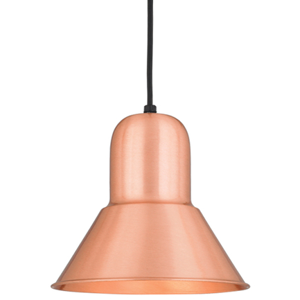 """10"""" shade in 24 satin copper, 8 foot black cord with 91 black canopy"""
