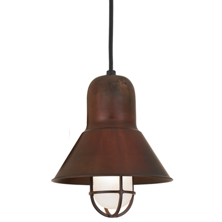 """10"""" shade and CGU accessory with frost glass in 77 rosewood, 8 foot black cord with 91 black canopy"""