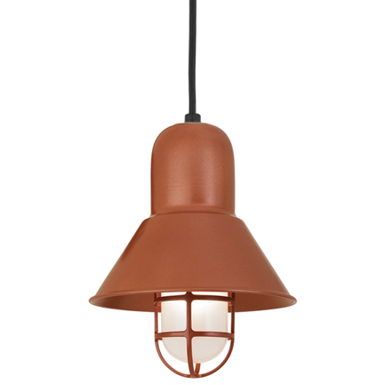 """10"""" shade and CGU accessory with frost glass in 113 painted copper, 8 foot black cord with 91 black"""