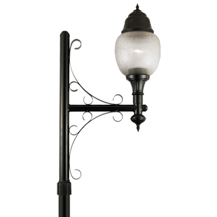 """16"""" fixture with acrylic globe, flame finial, dark sky hood and P-31 arm in 91 black finish"""