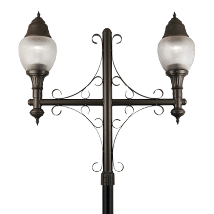"""14"""" acrylic globes with dark sky hood, flame finial and P-32 arm in 119 bronze finish"""