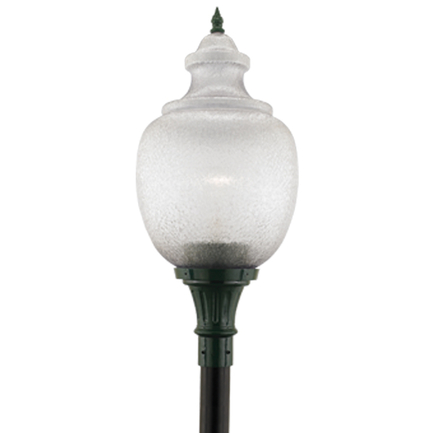 "16"" acrylic globe with flame finial in 95 dark green"
