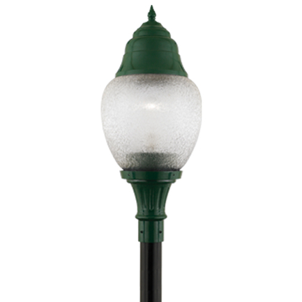 """14"""" fixture with dark sky hood and flame finial in 29 french green with acrylic globe"""