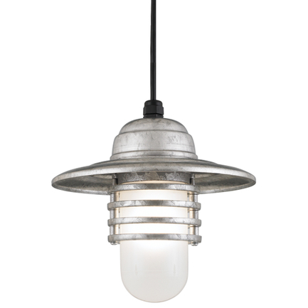 """10"""" shade in 96 Galvanized finish with frost glass and CB8 mounting"""