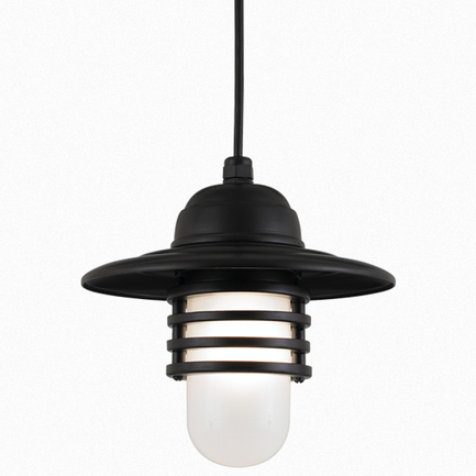 """10"""" shade in 91 Black finish with frost glass and CB8 mounting"""