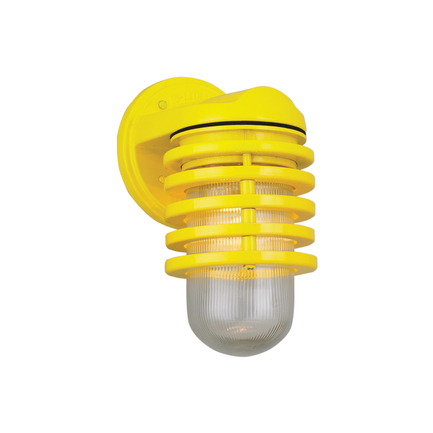 Small fixture with clear ribbed glass in 92 yellow finish