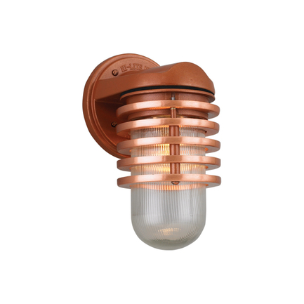 Small fixture with clear ribbed glass in 113 metallic copper finish