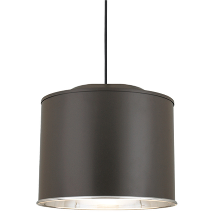 """16"""" shade in 119 bronze exterior & 98 polished aluminum interior, 8' black cord with 91 black canopy"""