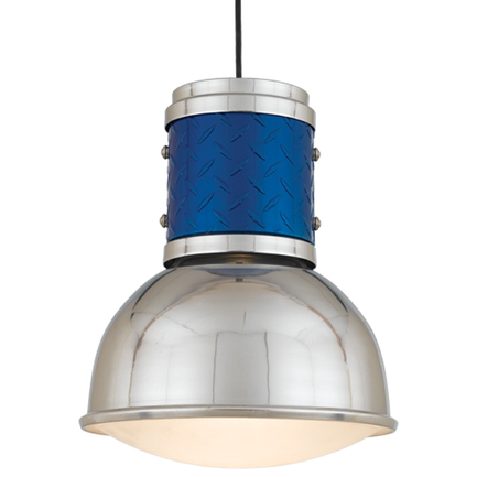 """12"""" shade in 98 polished aluminum, DPRG in 123 trans blue, 8' black cord & 91 black canopy, frost SD"""
