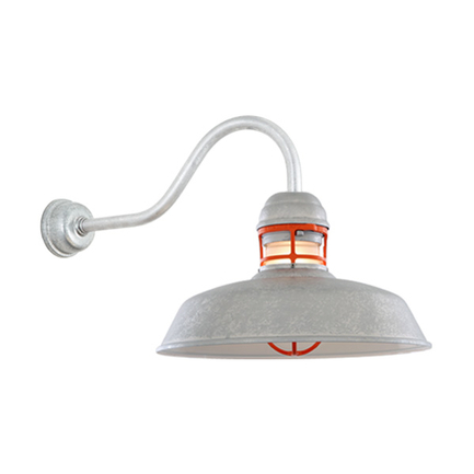"""14"""" RLM shade with HL-A gooseneck arm in 96 Galvanized finish and 97 red guard"""