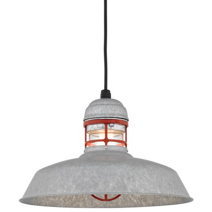 """16"""" RLM shade in Galvanized finish with guard in 141 Orange finish, clear glass and CB8 mounting"""