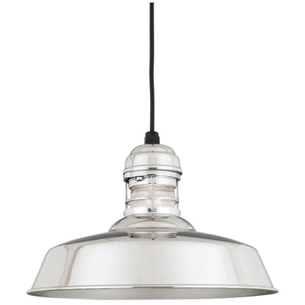 """16"""" RLM shade with guard in 98 Polished Aluminum finish and clear ribbed glass"""