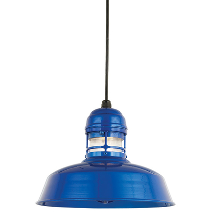 """14"""" RLM shade with guard in 123 Trans Blue finish and clear ribbed glass"""