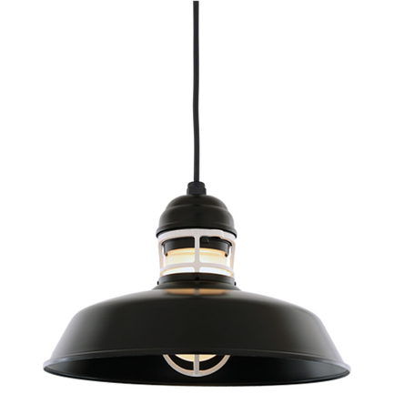 """16"""" RLM shade in 91 black finish with guard in 93 white finish, clear glass and CB8 mounting"""