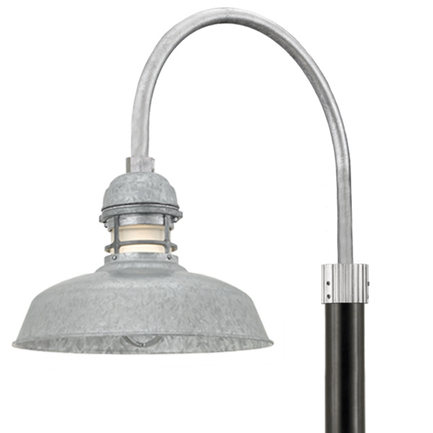 """14"""" RLM shade with guard and P-1 post arm in 96 Galvanized finish, frost glass, 3"""" black smooth pole"""