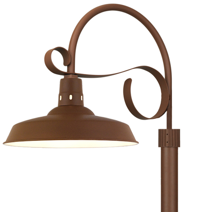 """18"""" shade with P-5 post arm and 3"""" diameter smooth pole in BR47 Powder Coat Rust finish"""