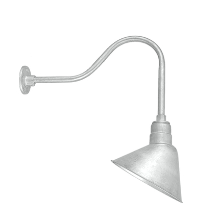 """10"""" shade with HL-H gooseneck arm in 96 Galvanized finish"""