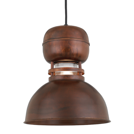 """12"""" shade with clear ribbed glass in 77 Rosewood finish with CB8 mounting"""