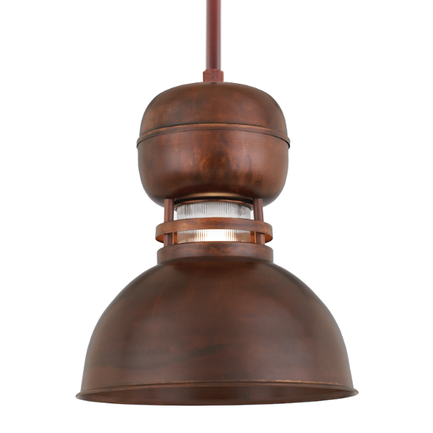 """12"""" shade with clear ribbed glass and ST2 in 77 Rosewood finish"""