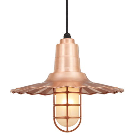 """16"""" shade with CGU accessory with frost glass in 48 Raw Copper finish with CB8 mounting"""