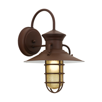 """12"""" shade and CGU accessory with amber crackle glass in BR47 powder coat rust"""