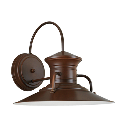 """14"""" shade and LCGU accessory with clear ribbed glass in 100 dark brown finish"""