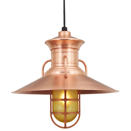 """20"""" shade and CGU accessory with amber crackle glass in 48 Raw Copper finish with CB8 mounting"""