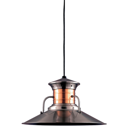 """18"""" shade in 11 Satin Steel finish, CB8 mounting, Neck Can in 24 Satin Copper finish"""
