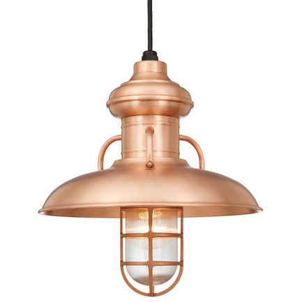 """18"""" shade in 48 raw copper finish with CB8 mounting and clear glass cgu accessory"""