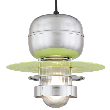 """12"""" shade in 96 Polished Aluminum finish with clear ribbed glass and CB8 mounting"""