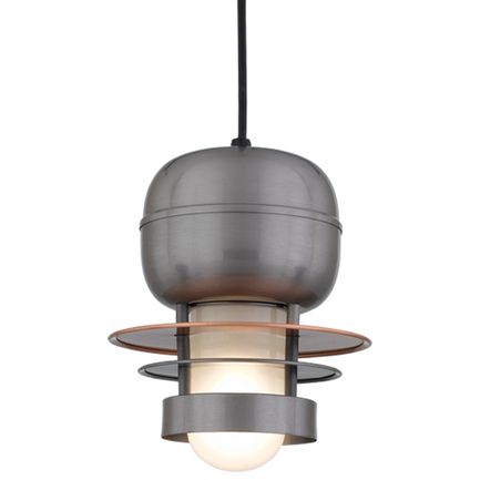 """8"""" shade in 11 Satin Steel finish with frost glass and CB8 mounting"""