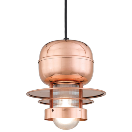 """10"""" shade in 44 Polished Copper finish with clear ribbed glass and CB8 mounting"""