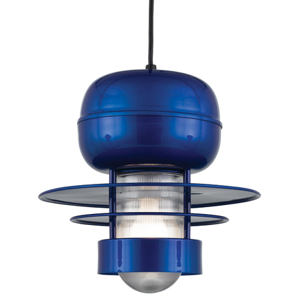 """14"""" shade in 123 Trans Blue finish with clear ribbed glass and CB8 mounting"""