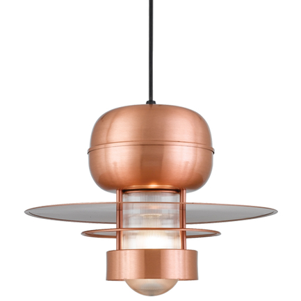 """18"""" shade in 24 Satin Copper finish with clear ribbed glass and CB8 mounting"""