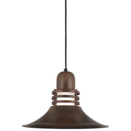 """14"""" shade with frost glass in 77 rosewood finish, 8 ft. black cord with 91 black"""