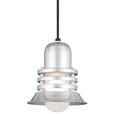 """8"""" shade with frost glass in 98 polished aluminum, 8 ft. black cord w/ 91 black canopy"""