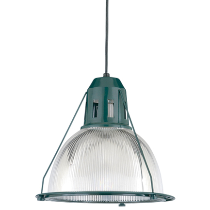 """14"""" shade with ribbed lens in 95 dark green, 8 foot black cord with 91 black canopy"""