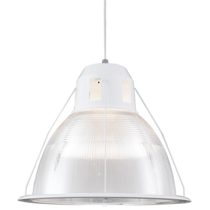 """26"""" shade with ribbed lens in 93 white finish, 8 foot white cord with 93 white canopy"""